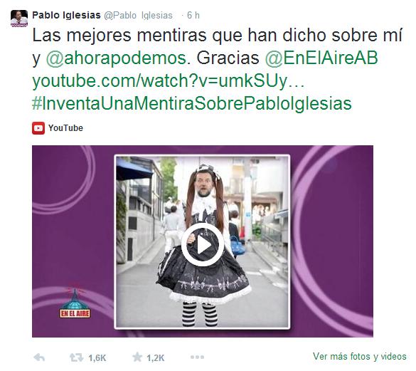 El perfil de Twitter de Pablo Iglesias, un amplificador para llegar y persuadir a la opinión pública