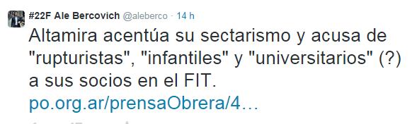 Ale Berco hablando de Altamira, Nicolás del Caño, el FIT, el po y el PTS. Todo en un solo tuit. Altamira relax...